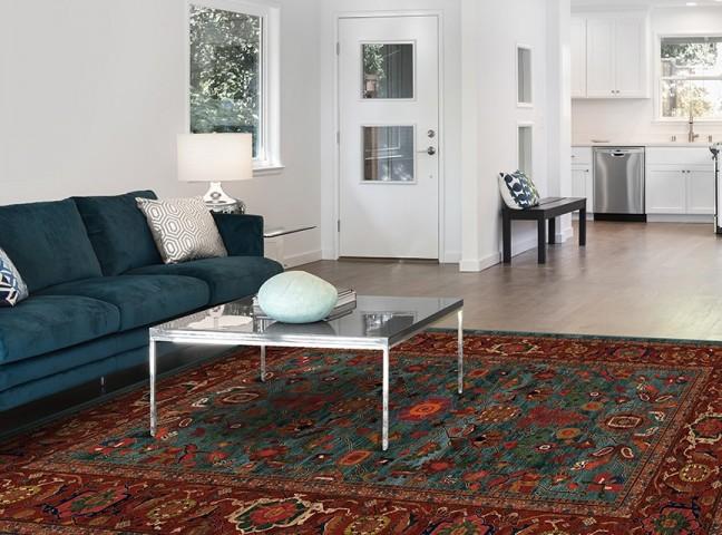 فرش مدما - فرش نکیسا - فرش کلاسیک - فرش سبز آبی - فرش سایز ۱.۲ متر در ۱.۸ متر - فرش صد و بيست سانت در يک متر و هشتاد سانت - فرش 120 در 180 سانت - فرش عرض صد و بيست سانت - فرش طول يک متر و هشتاد سانت