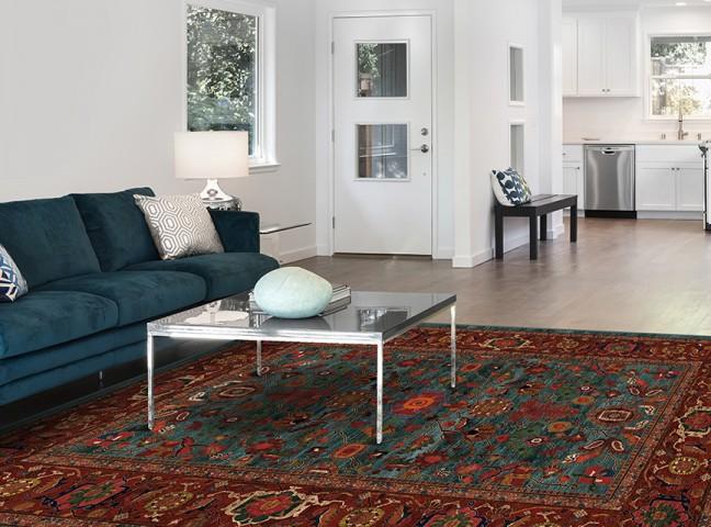 فرش مدما - فرش نکیسا - فرش کلاسیک - فرش سبز آبی - فرش سایز ۱.۵ متر در ۲.۲۵ متر - فرش سه و نيم متري - فرش 3.5 متري - فرش عرض يک و نيم متر - فرش طول دو متر و بيست و پنج سانت