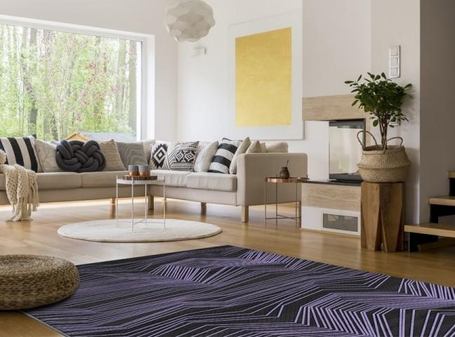 فرش مدما - فرش شروین - فرش هندسی - فرش بنفش - فرش سایز ۲.۲۵ متر در۳.۴ متر - فرش هشت متري - فرش 8 متري - فرش عرض دو متر و بيست و پنج سانت - فرش طول سه متر و چهل سانت