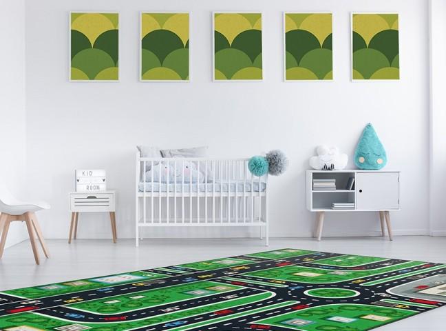 فرش مدما - فرش شهر کودک 2 - فرش کودک - فرش سبز - فرش سایز ۲.۲۵ متر در۳.۴ متر - فرش هشت متري - فرش 8 متري - فرش عرض دو متر و بيست و پنج سانت - فرش طول سه متر و چهل سانت
