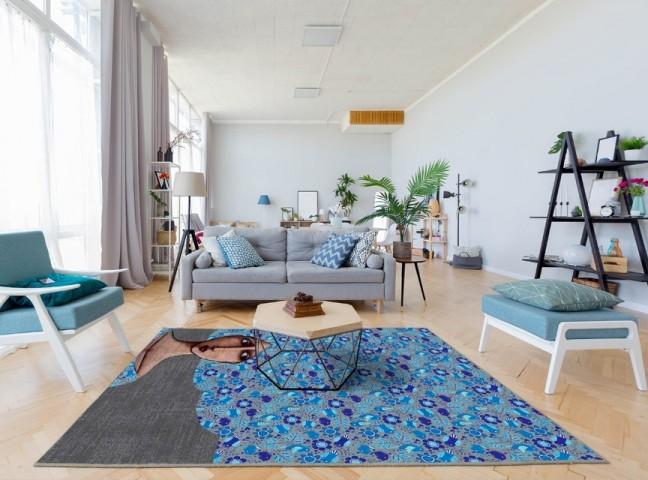 فرش مدما - فرش رومینا - فرش مدرن - فرش آبی - فرش سایز ۲.۲۵ متر در۳.۴ متر - فرش هشت متري - فرش 8 متري - فرش عرض دو متر و بيست و پنج سانت - فرش طول سه متر و چهل سانت