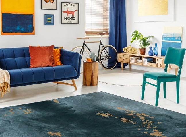 فرش مدما - فرش سورن - فرش مدرن - فرش آبی - فرش سایز ۲.۲۵ متر در۳.۴ متر - فرش هشت متري - فرش 8 متري - فرش عرض دو متر و بيست و پنج سانت - فرش طول سه متر و چهل سانت