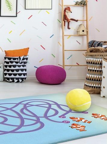 فرش مدما - فرش بازی 7 - فرش کودک - فرش آبی - فرش سایز ۲.۲۵ متر در۳.۴ متر - فرش هشت متري - فرش 8 متري - فرش عرض دو متر و بيست و پنج سانت - فرش طول سه متر و چهل سانت