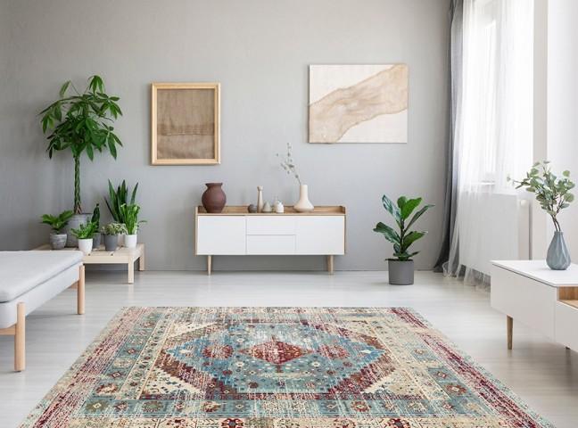 فرش مدما - فرش آرزو - فرش کهنه نما - فرش آبی - فرش سایز ۲.۲۵ متر در۳.۴ متر - فرش هشت متري - فرش 8 متري - فرش عرض دو متر و بيست و پنج سانت - فرش طول سه متر و چهل سانت