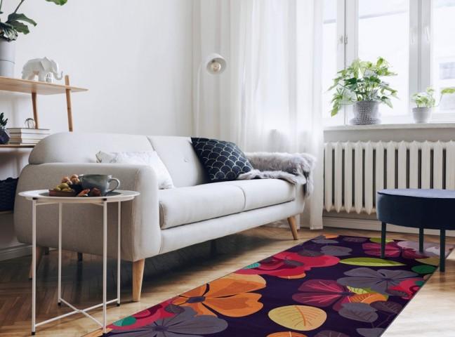 فرش مدما - فرش لیانا - فرش گل - فرش بنفش - فرش سایز ٠.۸٠ متر در ۲.۴ متر - فرش هشتاد سانت در دو متر و چهل سانت - فرش 80 سانت در 2 متر و 40 سانت - فرش عرض هشتاد سانت - فرش طول دو متر و چهل سانت