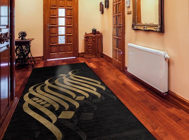 فرش مدما - فرش مهلا - فرش خط نقاشی - فرش مشکی - فرش سایز ٠.۸٠ متر در ۲.۴ متر - فرش هشتاد سانت در دو متر و چهل سانت - فرش 80 سانت در 2 متر و 40 سانت - فرش عرض هشتاد سانت - فرش طول دو متر و چهل سانت