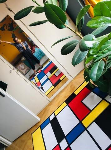 فرش مدما - فرش دی استیل - فرش چهار خانه - فرش آبی - فرش سایز ۲.۲۵ متر در۳.۴ متر - فرش هشت متري - فرش 8 متري - فرش عرض دو متر و بيست و پنج سانت - فرش طول سه متر و چهل سانت