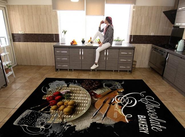 فرش مدما - فرش توژک - فرش آشپزخانه - فرش مشکی - فرش سایز ۲.۲۵ متر در۳.۴ متر - فرش هشت متري - فرش 8 متري - فرش عرض دو متر و بيست و پنج سانت - فرش طول سه متر و چهل سانت